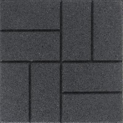 Reversible 16 in. x 16 in. x 0.75 in. Slate Brick Face/Flat Profile Rubber Paver
