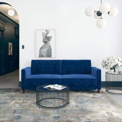 Iris Blue Velvet Tufted Futon