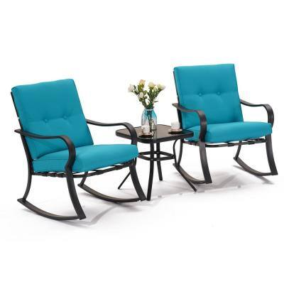 3-Piece Steel Outdoor Rocking Bistro Sets with Blue Cushion