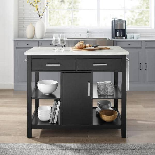 Crosley Furniture Audrey Black Kitchen Island With Faux Marble Top Cf3026wm Bk The Home Depot