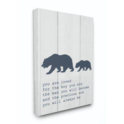 """16 in. x 20 in. """"Kids Inspirational Word Boys Bear Family"""" by Daphne Polselli Canvas Wall Art"""
