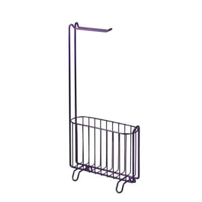 Freestanding Toilet Paper Holder with Magazine Rack in Purple