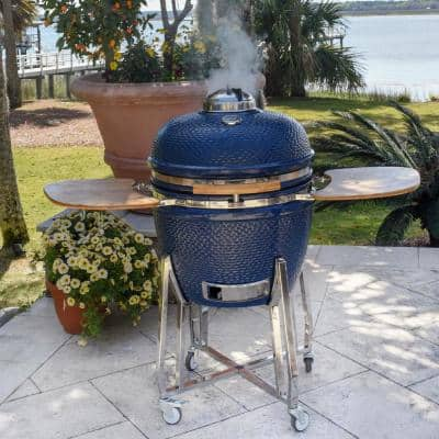Kamado Charcoal 655 square inch Cook Surface Grill and Smoker with Electric Starter, Cover, Deflector Stone in Blue