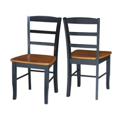 Madrid Black and Cherry Wood Dining Chair (Set of 2)