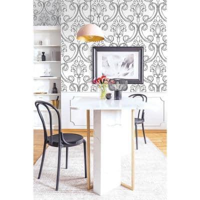 Sketched Damask Ebony Classical Peel and Stick Wallpaper (Covers 30.75 sq. ft.)
