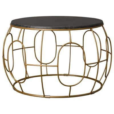 Oto Gold Metal Outdoor Coffee Table with Black Granite Top