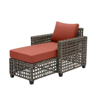 Briar Ridge Brown Wicker Outdoor Patio Chaise Lounge with Sunbrella Henna Red Cushions