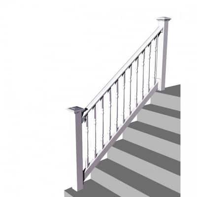 Original Rail PVC 8 ft. x 36 in. 32-38° Stair Rail Kit - Turned Baluster - White