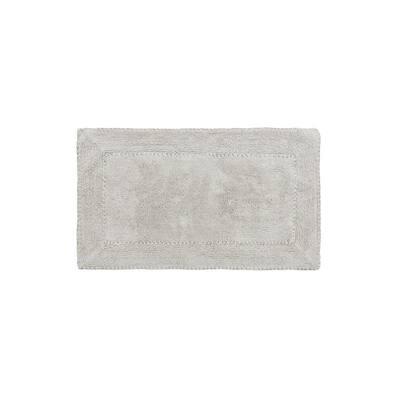 20 in. x 34 in. Light Gray Cotton Ruffle Bath Rug
