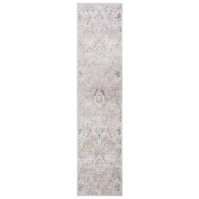 Moondust Gray/Ivory 2 ft. x 8 ft. Floral Runner Rug