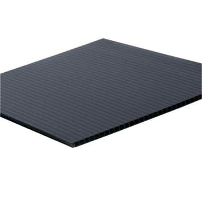 48 in. x 96 in. x 0.157 in. Black Corrugated Plastic Sheet (10-Pack)