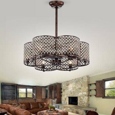 Linza 30 in. Indoor Rustic Bronze Remote Controlled Fandelier Ceiling Fan with Light Kit