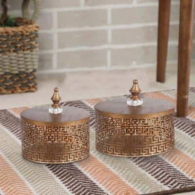 Gold 2-Piece Decorative Pierced Metal Box Set with Lidded Finial Top
