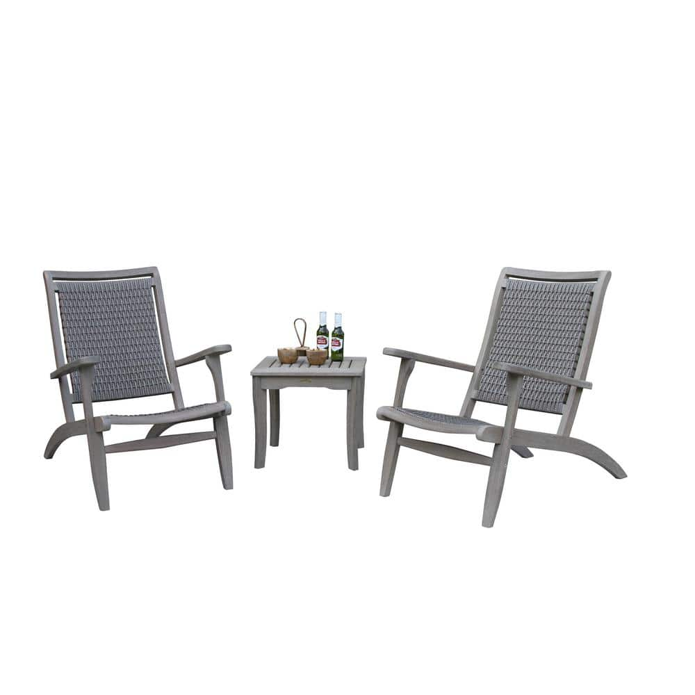 Grey Wash Eucalyptus And Driftwood Grey 3 Piece Wicker Outdoor Lounge Chair Set With Square Accent Table Set Gw21250 47 The Home Depot