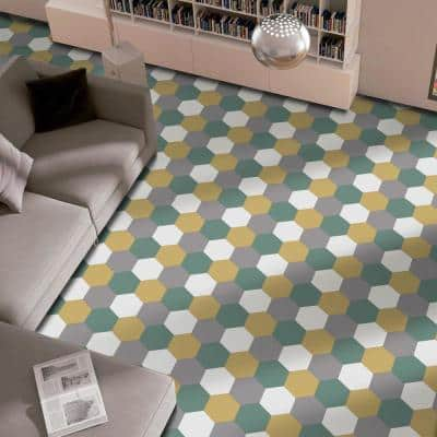 Textile Hex Kale 8-5/8 in. x 9-7/8 in. Porcelain Floor and Wall Tile (11.56 sq. ft. / Case)