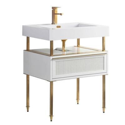 Dakota 30 in. W x 18 in. D x 33.5 in. H Bathroom Vanity side cabinet in White - Satin Brass with White Ceramic Top