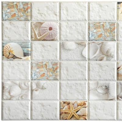 3D Falkirk Retro 10/1000 in. x 38 in. x 19 in. White Beige Yellow Pink Orange Faux Shells Starfish Mosaic PVC Wall Panel