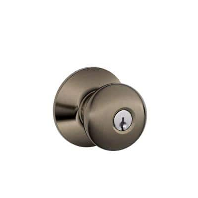Plymouth Antique Pewter Keyed Entry Door Knob