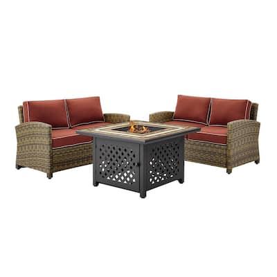 Bradenton 3-Piece Wicker Patio Fire Pit Seating Set with Sangria Cushions