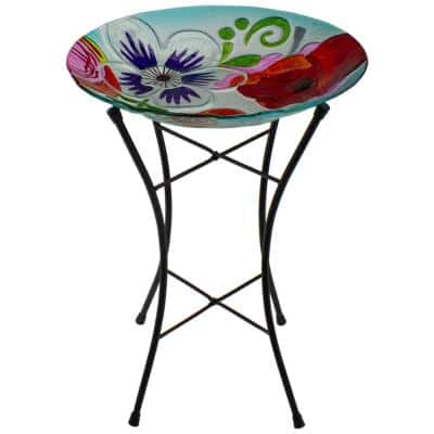 21 in. White and Blue Hand Painted Floral Glass Outdoor Patio Birdbath