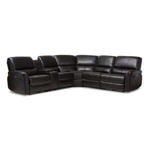 Amaris 5-Piece Black Faux Leather 6-Seater Curved Reclining Sectional Sofa