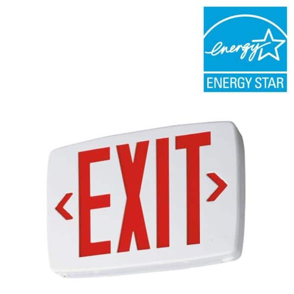 quantum thermoplastic white integrated led emergency exit sign with stencil faced housing and red letters