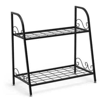 24.5 in. Tall Indoor/Outdoor Metal Plant Stand Shelf Flower Pot Holder Display Rack Shoe Organizer (2-Tiered)