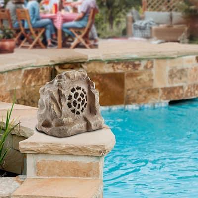 Waterproof Bluetooth Solar-Powered Outdoor Wireless Rock Speaker, Brown
