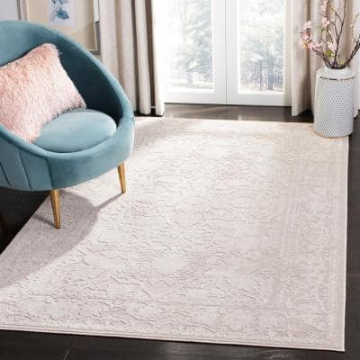 Reflection Cream/Ivory 8 ft. x 10 ft. Border Floral Area Rug