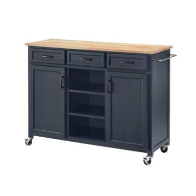 Midnight Kitchen Cart with Butcher Block Top