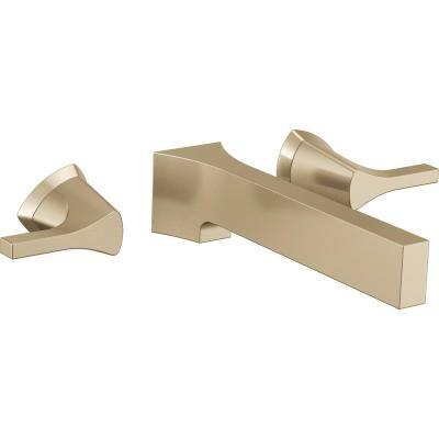 Zura 2-Handle Wall Mount Bathroom Faucet Trim Kit in Champagne Bronze (Valve Not Included)