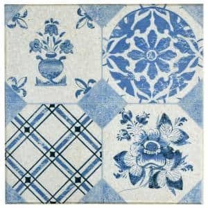 Klinker Retro Azul Mix 9-5/8 in. x 9-5/8 in. Ceramic Floor and Wall Quarry Tile (0.64 sq. ft./Each)