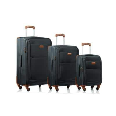 CHAMPS Classic 28 in.,24 in., 20 in. Grey Softside Luggage Set with Spinner Wheels (3-Piece)