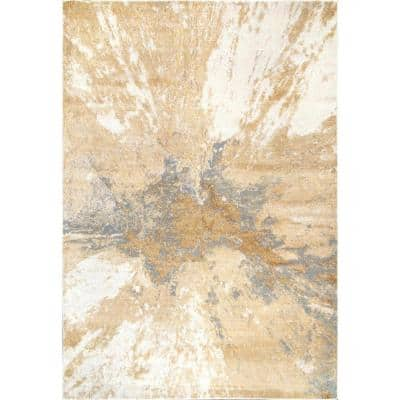 Cyn Modern Abstract Gold 8 ft. x 10 ft. Area Rug