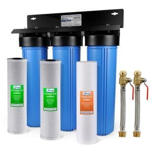 3-Stage Whole House Water Filtration System w/ 3/4 in. Push-Fit Stainless Steel Hose Connectors and Ball Valve