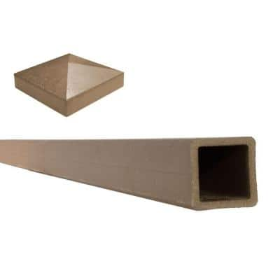 Seclusions 5 in. x 5 in. x 8 ft. Saddle Brown Wood-Plastic Composite Fence Post with Crown Post Cap
