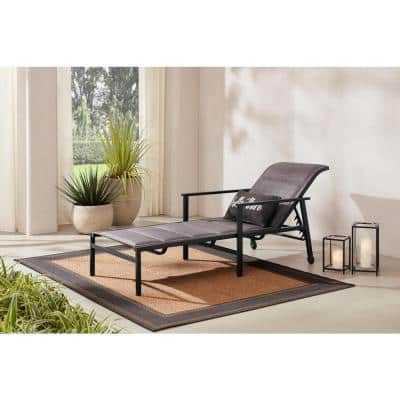 High Garden Black Steel Padded Sling Outdoor Patio Chaise Lounge Chair