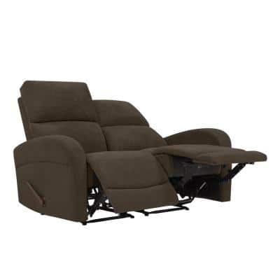 58.2 in. Chocolate Brown Polyester 2-Seater Reclining Loveseat with Square Arms