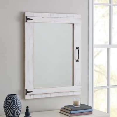 Medium Rectangle Rustic White Classic Mirror (32 in. H x 24 in. W)