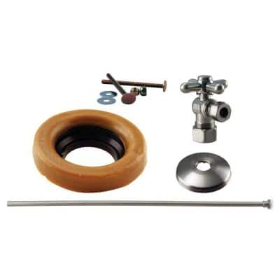 1/2 in. Nominal Compression Cross Handle Angle Stop Toilet Installation Kit with Brass Supply Line in Satin Nickel