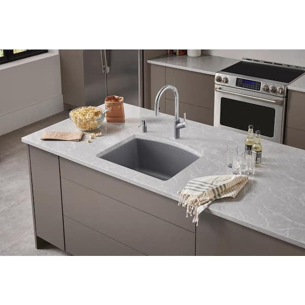 Blanco Diamond Undermount Granite Composite 24 In Single Bowl Kitchen Sink Metallic Gray 440173 The Home Depot