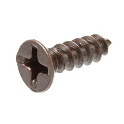 #8 x 3/4 in. Bronze Plated Flat-Head Phillips Drive Decor Screw (4-Pieces)