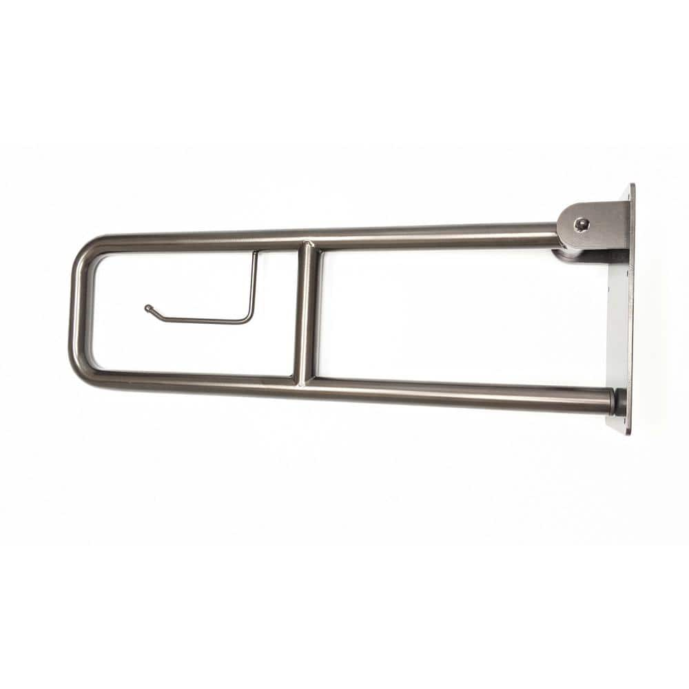 Csi Bathware 29 In Flip Up Grab Bar With Toilet Paper Holder In Oil Rubbed Bronze Bar Fb29 125 Ob Tph The Home Depot