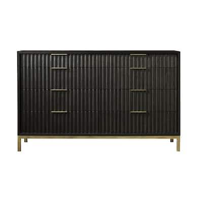 Kentfield 8-Drawer Black Drifted Oak Dresser 38 in. H x 62 in. W x 18 in. D