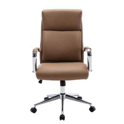 Brown High Back Adjustable Height Leather Executive Swivel Office Chair with Lumbar Support and Chrome Base