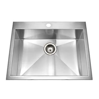 Bellus Series Drop-In Stainless Steel 25 in. 1-Hole Single Bowl Zero Radius Kitchen Sink