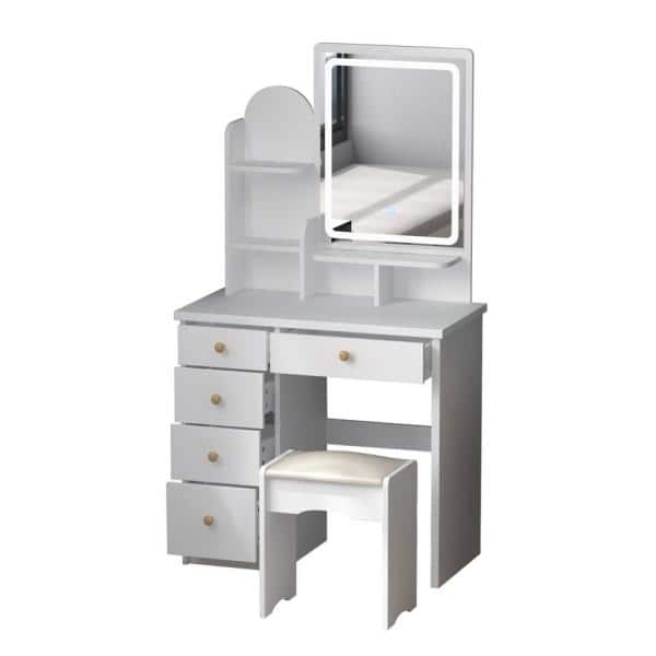 5 Drawers White Makeup Vanity Sets, Home Depot Makeup Vanity Mirror With Lights