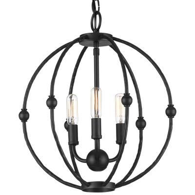 Pacolet 3-Light Textured Black Pendant