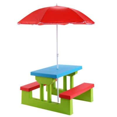 Kids Rectangualr Plastic Outdoor Picnic Table with Bench and Umbrella