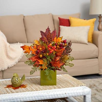 17 in. Maple Leaf, Berries and Maiden Hair Artificial Arrangement in Green Vase